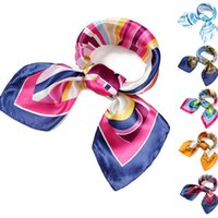 airline towel - 130 Style Womens Silk Scarves Magic Satin Scarf Ladies Small Kerchief Towel Airline Stewardess Office Profession Fashion Accessories DCBF01