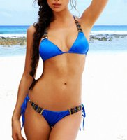 bikini bottoms - 2015 Hot Sexy Bikini Womens Swimwear Triangle Blue Beachwear Adjust String Bandage Halter Bottom Back Draped Beads Girls Bathing Suit