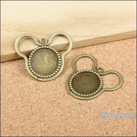 antique silver photo frames - Vintage Charms Mickey Photo Frame Pendant Antique bronze Fit Bracelets Necklace DIY Metal Jewelry Making metal love charm
