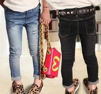 girls skinny jeans - 2015 Spring Broken Hole Skinny Cowboy Tootsies Trousers All match Baby Girls Long Pants Fashion Elastic Band Child Jeans Blue Black L1938