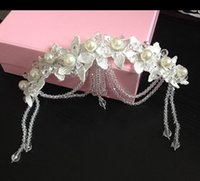 Wholesale fashion headhands Silk Flower Bridal Tiaras Crystal Faux Pearl Hair Accessories Headpieces Frontlet Hair Band v02039
