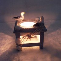 Wholesale Y013 Ocean wooden candlesticks creative Mediterranean style bar Cafe lantern ornaments