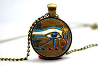 american art glass - 10pcs Eye of Horus Necklace Egyptian Necklace Egyptian Eye Glass Tile Jewelry Art Pendant Glass Photo Cabochon Necklace