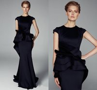 peplum - 2015 Black Mermaid Evening Dresses With Peplum Cap Sleeves Mother Of Bride Dresses Summer Formal Gowns Floor Length zahy479