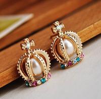 12pairs Livraison gratuite Fashion Colorful cristal Imperial Crown Stud Boucles d'oreilles mignon oreille Nail