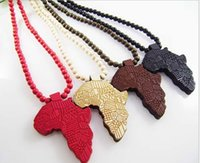 Wholesale Hip hop Necklace Wooden Hand drawn GOOD WOOD NYC Map of Africa Beaded rosary jewelry colors Factory Cheap Price