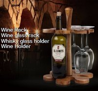 acacia wine - High Quality DHL Free Creative Acacia Wood Bar Beer Wine Rack Wine Holder Wine Accessories Whisky Glass Cup Bottle Holder