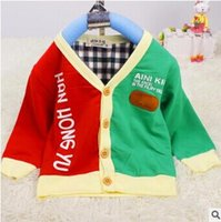 active mark - Baby boys color matching v neck skin mark cardigan coat active cute comfortable