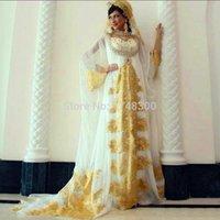 area pictures - Saudi Arabia Long Sleeve Scoop Evening Dress vestido de festa Middle East Area Women Dresses Mhamad Yellow Appliques Beads Sweep