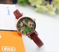 Wholesale Vintage flower Watches for Women Weave Bracelet leather Wristwatch Casual wood watch Fashion Girls Wrap Quartz Watch best Gifts