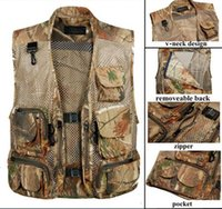 Wholesale Men Outdoor Camping Hunting Fishing Camouflage Military Tactical Airsoft Mesh Vest Multi Pocket Photographer Waistcoat Outerwear