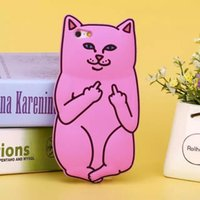 silicone finger cover - 3D Soft Silicon Cat Case For Iphone S S s Plus Cartoon Animals Rubber Middle Finger Capa Cover