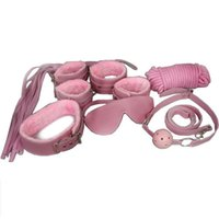 Cheap Pink PU handcuff hand restraint bondage gear one Set(7pcs) Mask+handcuff+rope+anklet+ handcuff+collar and so on) sex toys
