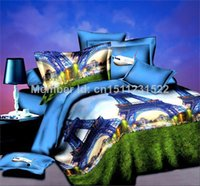 Cheap SUNA Underwater World cotton 3d oil painting 3d bed sheet set Queen size bed linen 3d bedding set Free shipping