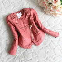 Wholesale Babies Kids Girls Pu Leather Jackets Princess Lace Panelled Zipper Rivet and Pockets Design Weatern Fashion Slim Warm Jacket Outwears