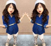 Wholesale Spring and fall Child Suit Clothes Children Sets Girls Suit Outfits Denim Shirts Leopard Print Leggings three Clothing Baby Girl Dress