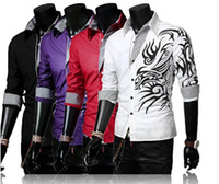 Wholesale 2015 New Men Casual Silm Fit Dragon Printed Shirts Mens Totem Tattoo Long Sleeve Shirt Plus size Tops LM