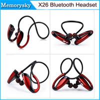 achat en gros de x w-Oreillette Bluetooth HOT X26 Wireless In-ear Sport BT4.1 Apt-X Tech Président Musique Casque stéréo Super Bass mains libres w / Mic Earphone 010202