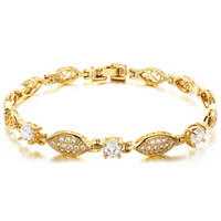 Wholesale mix order Hot Sell Classic Vintage K Gold Plated luxury chain bracelets fashion crystal bracelet