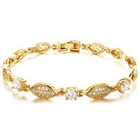 Wholesale Hot Sell Classic Vintage K Gold Plated luxury chain bracelets fashion crystal bracelet