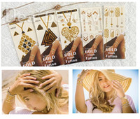 Wholesale 10 Off Flash Gold Tattoos Quotes simple sticker small words on wrist arrow Geometric symbols moon mandala butterfly elephant temporary