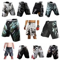Wholesale Mens MMA Shorts MMA Fight trunks Martial Arts Seen Pretorian Boxing Sanda Muay Thai Shorts MMA Black Yellow Short Trunks