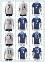 france - Best Supplier Uniforms Kit France BENZEMA RIBERY GIROUD ZIDANE POGBA MARTIAL White POGBA White Blue Soccer Jersey Full Shirt