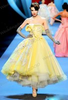 Wholesale 2015 Latest Runway Fashion Dresses Elegant Evening Dresses Strapless Lace Applique Ankle Length A line Pageant Prom Gowns