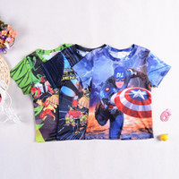 Wholesale 2015 New summer boys cartoon Captain America Ben short sleeve t shirt boys tee shirt top big children kids clothes