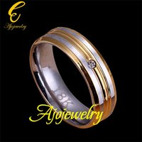 Wholesale FG Classic Man Jewelry Stainless Steel Mens Wedding Band Ring Zircon