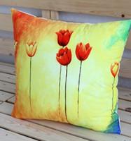 Frete grátis / Aquarela flores tulipa impressão de camurça tecido fronha bar carro escritório sofá travesseiro 3 preço de atacado