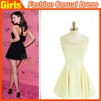 Wholesale 2015 Fairy Ladies Dress Casual Dress Neck Hung A Lace Backless Dress Lace Dress