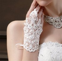 Wholesale Bohemian Bridal Gloves Lace Wrist Length Wedding Gloves Party Gloves Beaded Crystal Sheer Ring Finger