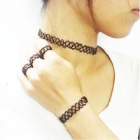 adjustable tattoo - Vintage Stretch Tattoo Choker Necklace Fashion Adjustable Bracelet Ring Necklace Elastic Women Jewelry Set Black