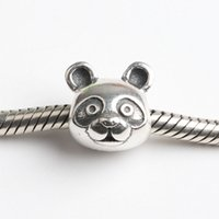 Silver Animals Silver Fits Pan Bracelets 4.5mm mini panda head dangles charms Silver Beads Cubic Zirconia 100% 925 Sterling Silver Charms for DIY Jewelry