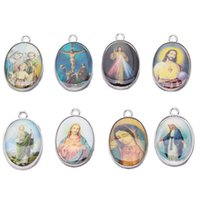 Wholesale 60pcs Double Jesus Virgin Mary Pattern Oval Charms Pendant Silver Zinc Alloy Charms Fit Bracelet Necklace mm