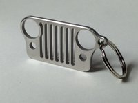 Wholesale 2016 Portable Stainless Steel Jeep Grill Grille Key Chain Silver KeyRing CJ JK XJ TJ