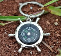 gadgets gifts - Fashion Rudder Compass Keychain Mini Compass Key Chain Ring Pocket Outdoor Gadgets Hiking Camping Outdoor Gear Pendant Xmas Promotion Gifts