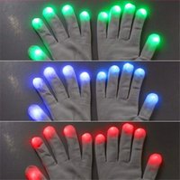 Wholesale 40pcs pairs Xmas gift DHL Modes color changing flashing led glove for party black white for choice best