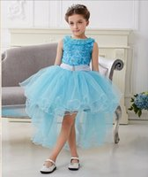 wedding dresses lot - New Children Princess Dress Girl Party Dovetail Dresses Kids Summer TuTu Dress Wedding Dresses Short in front long A11755