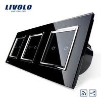Wholesale Livolo New Product Black Crystal Glass Switch Panel CE EU Standard V Wall Lightr Switch gang way VL C706SR SR2