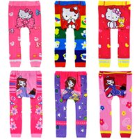 Wholesale quality Children printing PP pants kitty cat sofia cartoon pattern knit pp pants Children tights leggings size