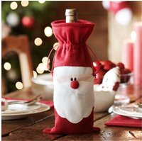 Wholesale Fashion Cute Santa Clause Dress Merry Christmas Decoration Wine Bottle Cover Bags Gift Wrap Party Decor Red Style