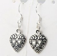 alloy rims - 11 x32mm Antique Silver Double Dots Hearts With Weaved Rim Heart Charm Pendant Earrings Silver Fish Ear Hook Chandelier E907