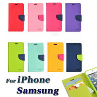 """Wholesale Cheapest Iphone 5c Cases - Cheap 10pcs Dual Color Cases General PU Leather Wallet Case Flip Cover With Credit Card Slots 5.5"""" iPhone 6 Plus 5C 5S Samsung S4 S5 Note5"""