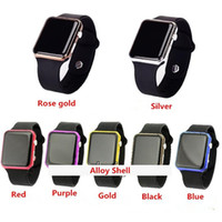 watch faces - 50pcs Square Mirror Face Silicone Band Digital Watch Red LED Watches Quartz Wrist Watch Sport Clock Hours