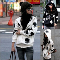 Wholesale New spring and autumn outerwear women s casual loose skull with a hood zipper up sweatshirt