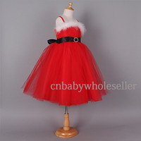 Wholesale 2014 Newest Designer Girl Christmas Dresses Red Polyester Dresses With Black Belt And White Fur Children Chirtmas Party Dresses GD41030