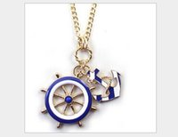 anchor blue jewelry - Fashion necklace top grade Navy wind anchor blue and white sweater chain long necklace Pendant Necklaces Jewelry