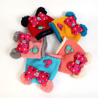 Wholesale Children s Hats Mickey Design Baby Winter Caps With Bow Crochet Beanie Hats For Baby Girl New Fashion